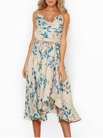 Flower Elastic Waist Vacation Dress