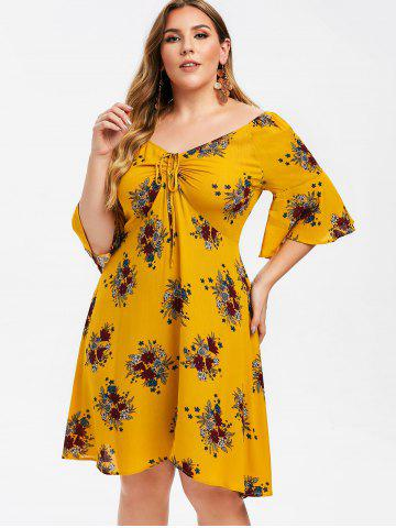 Plus Size Floral Flare Sleeve Cinched Dress