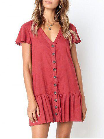 Casual Button Up Flounce Dress