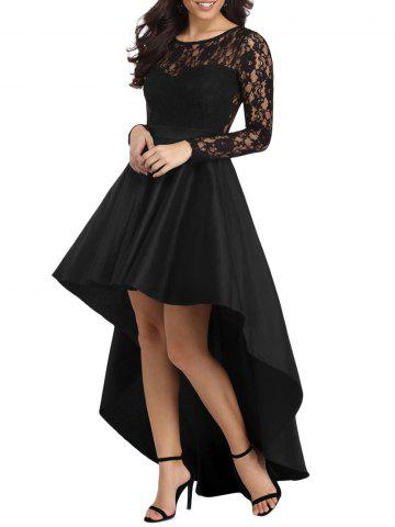 Lace Panel High Low Evening Dress