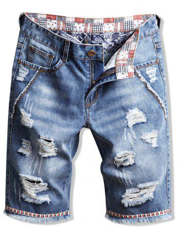 Casual Fringed Ripped Jeans Shorts
