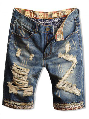 Casual Ripped Design Denim Shorts