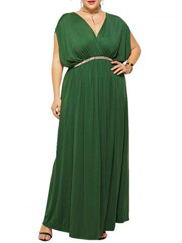 Plus Size Rhinestone Long Surplice Dress