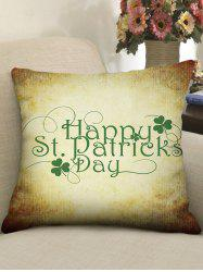 Patrick Day Clover Print Decorative Pillowcase -