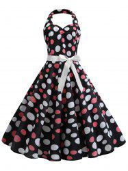 Polka Dot Vintage Belted Flare Dress -