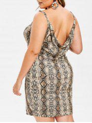 Rosegal Plus Size Snakeskin Print Open Back Mini Dress -