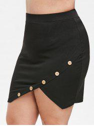 Rosegal Plus Size Button Embellished Asymmetrical Skirt -