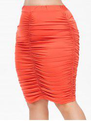 Rosegal Plus Size Ruched Knee Length Skirt -