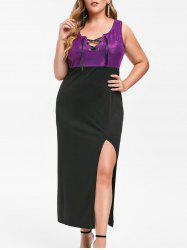 Rosegal Plus Size Glitter Lace Up Slit Party Dress -