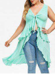 Rosegal Plus Size Ruffle Tied High Low Tank Top -