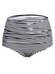 Elastic Waist Ruched Striped Swim Panty -