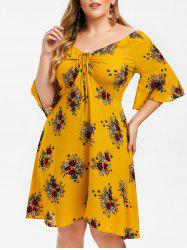 Plus Size Floral Flare Sleeve Cinched Dress -