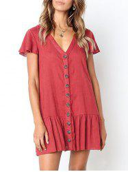 Casual Button Up Flounce Dress -