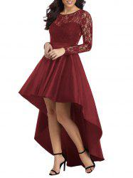 Lace Panel High Low Evening Dress -