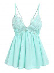Cami Lace Panel Plunge Tank Top -