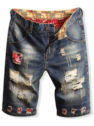 Patchworks Design Casual Jeans Shorts -
