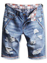 Casual Fringed Ripped Jeans Shorts -