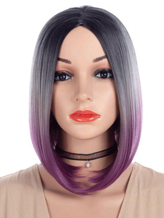 Medium Center Parting Ombre Straight Tail Adduction Bob Wig
