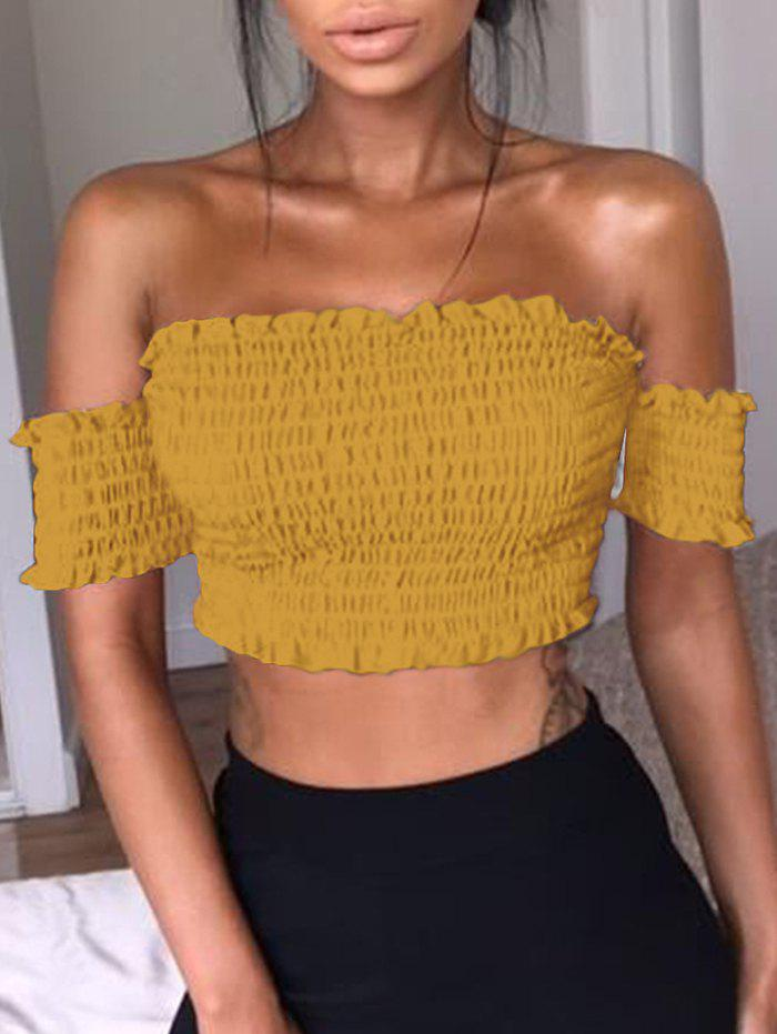 Best Ruffle Off The Shoulder Smocked Crop Top