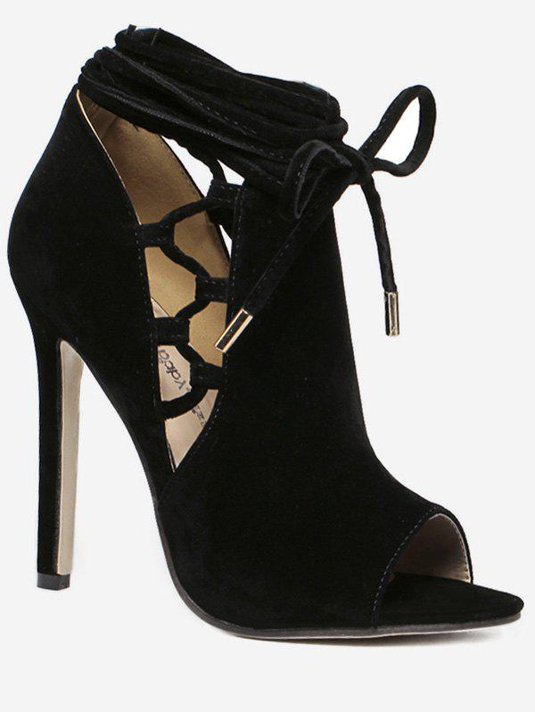 Online Hollowed Peep Toe High Heel Sandals