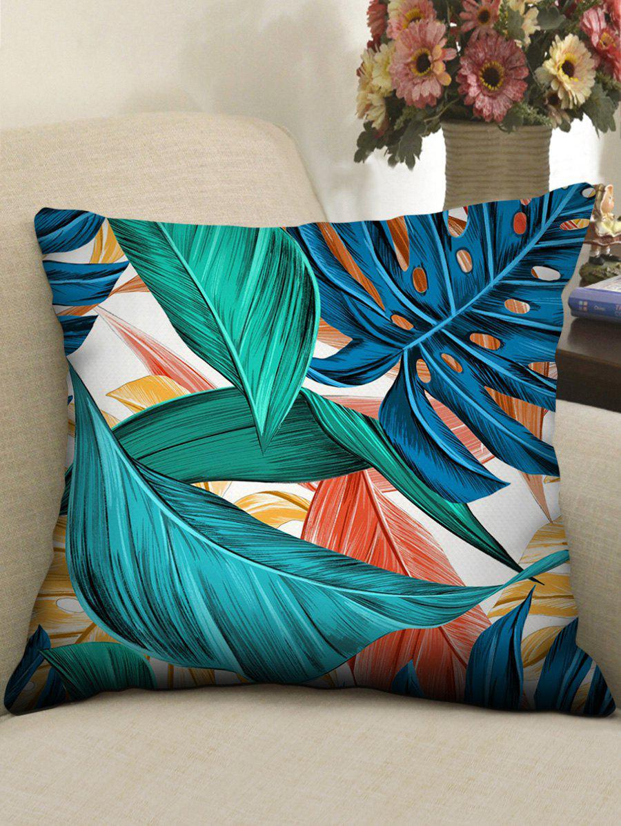 Trendy Colorful Tropical Leaves Print Decorative Pillowcase
