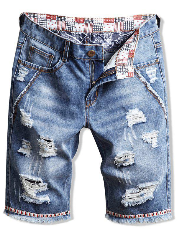 Shop Casual Fringed Ripped Jeans Shorts