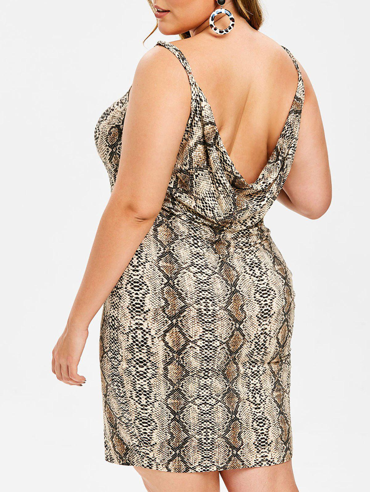 Hot Rosegal Plus Size Snakeskin Print Open Back Mini Dress