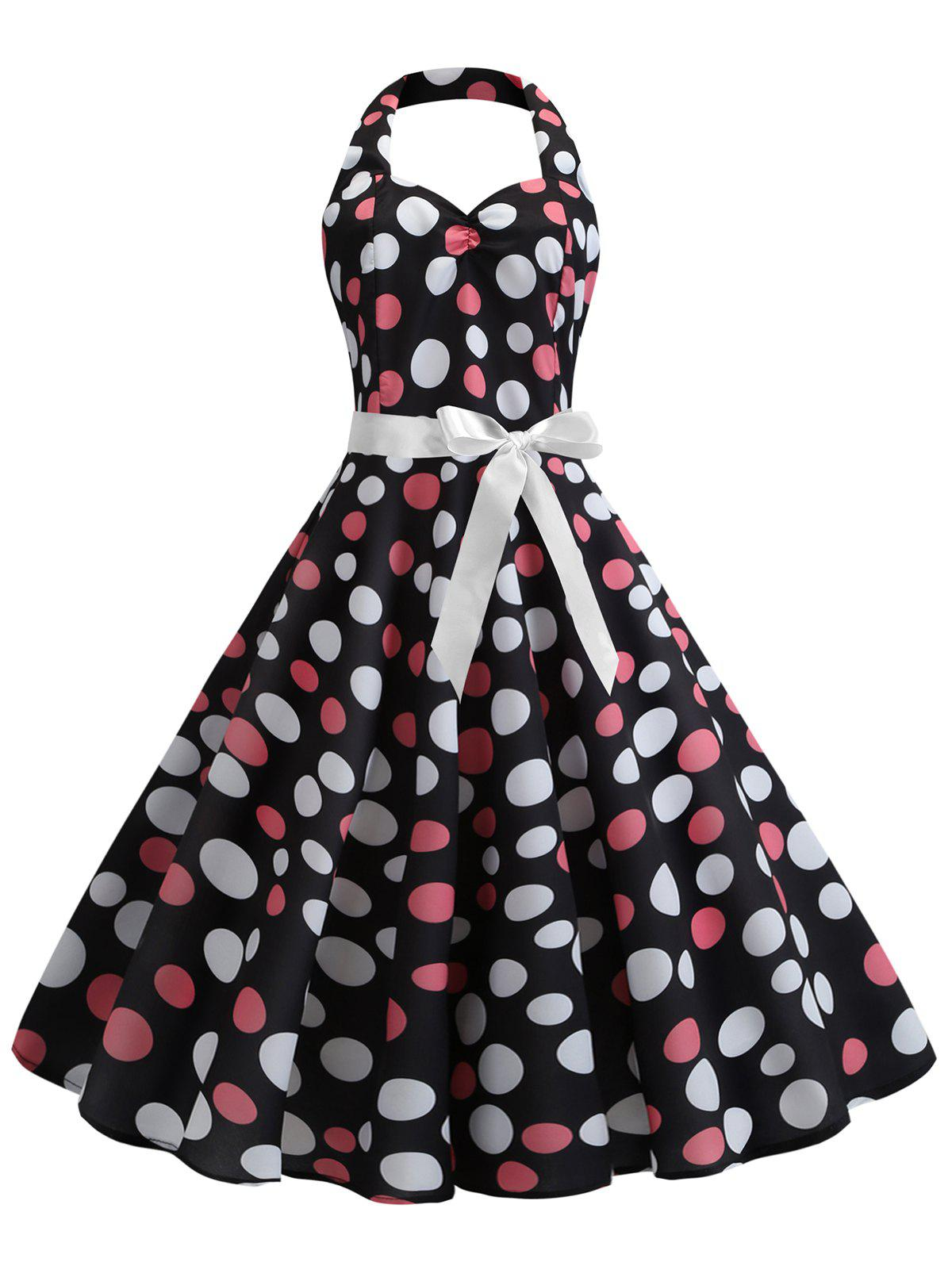 Buy Polka Dot Vintage Belted Flare Dress