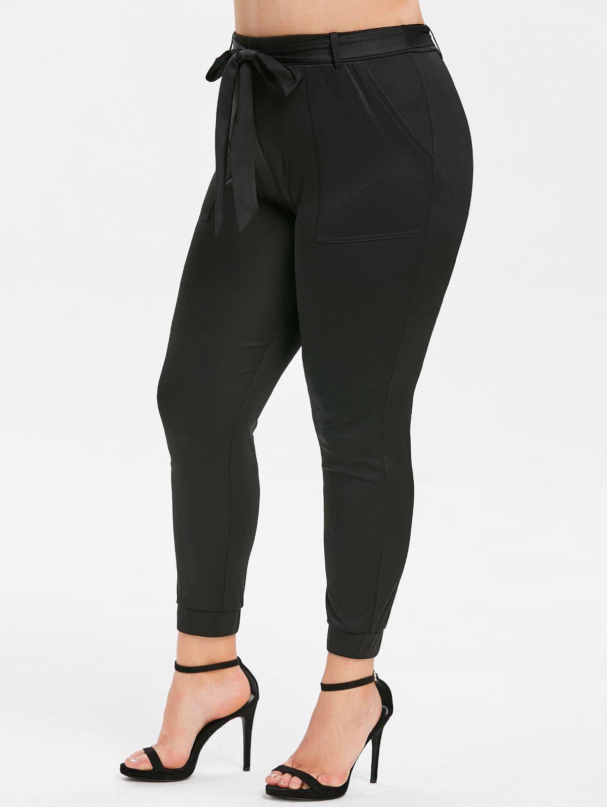 Outfits Rosegal Plus Size Belted Pocket Jogger Pants