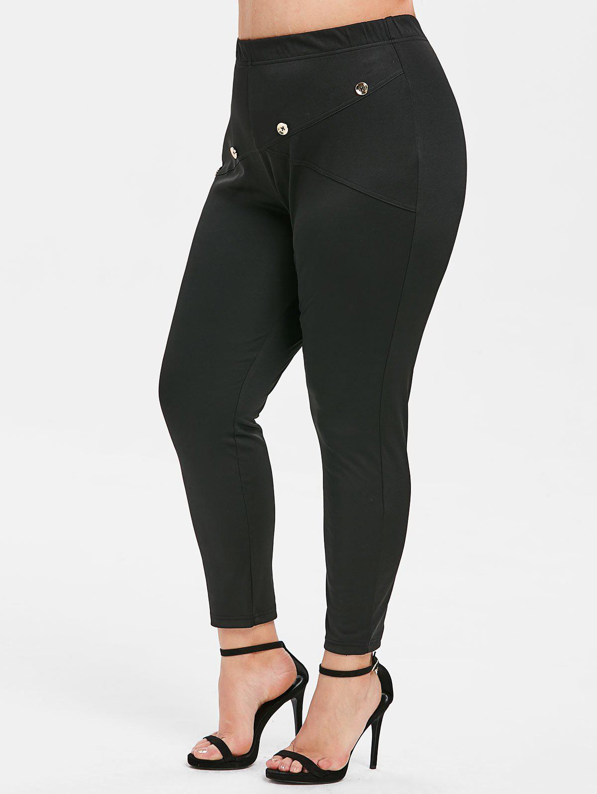 Fancy Rosegal Button Plus Size Leggings