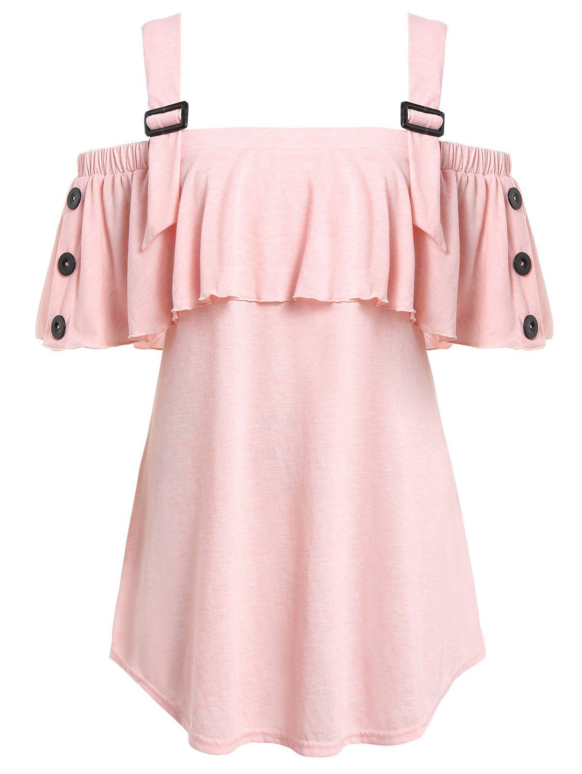 Plus Size Open Shoulder Flounce T Shirt Rosegal