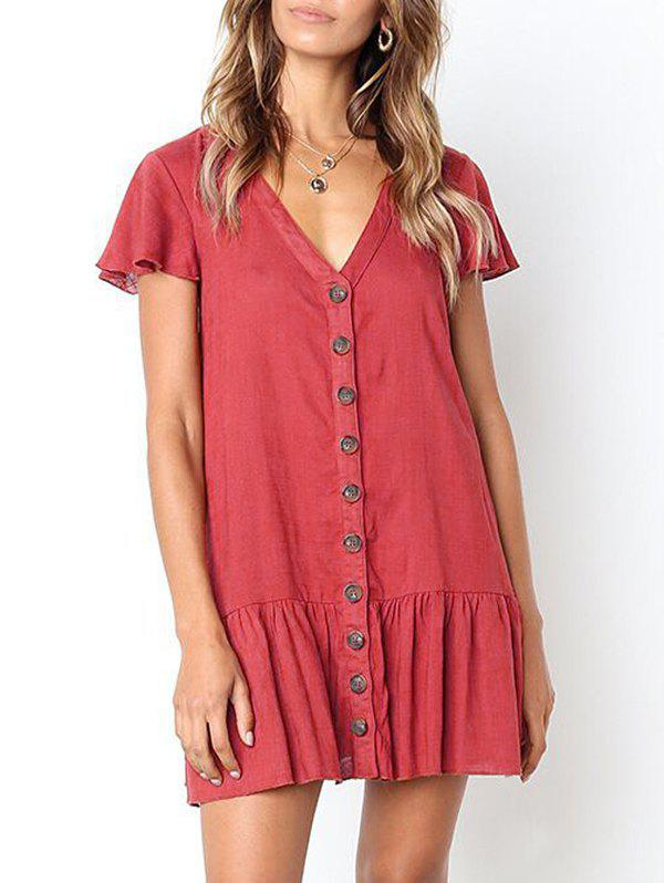 Trendy Casual Button Up Flounce Dress