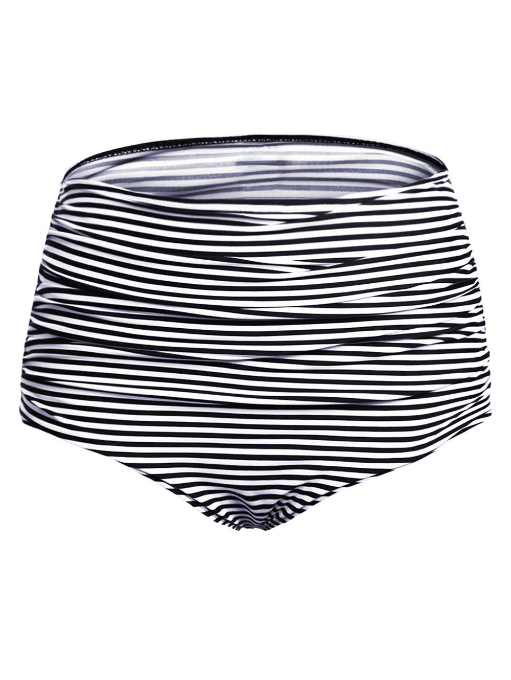 Sale Elastic Waist Ruched Striped Swim Panty