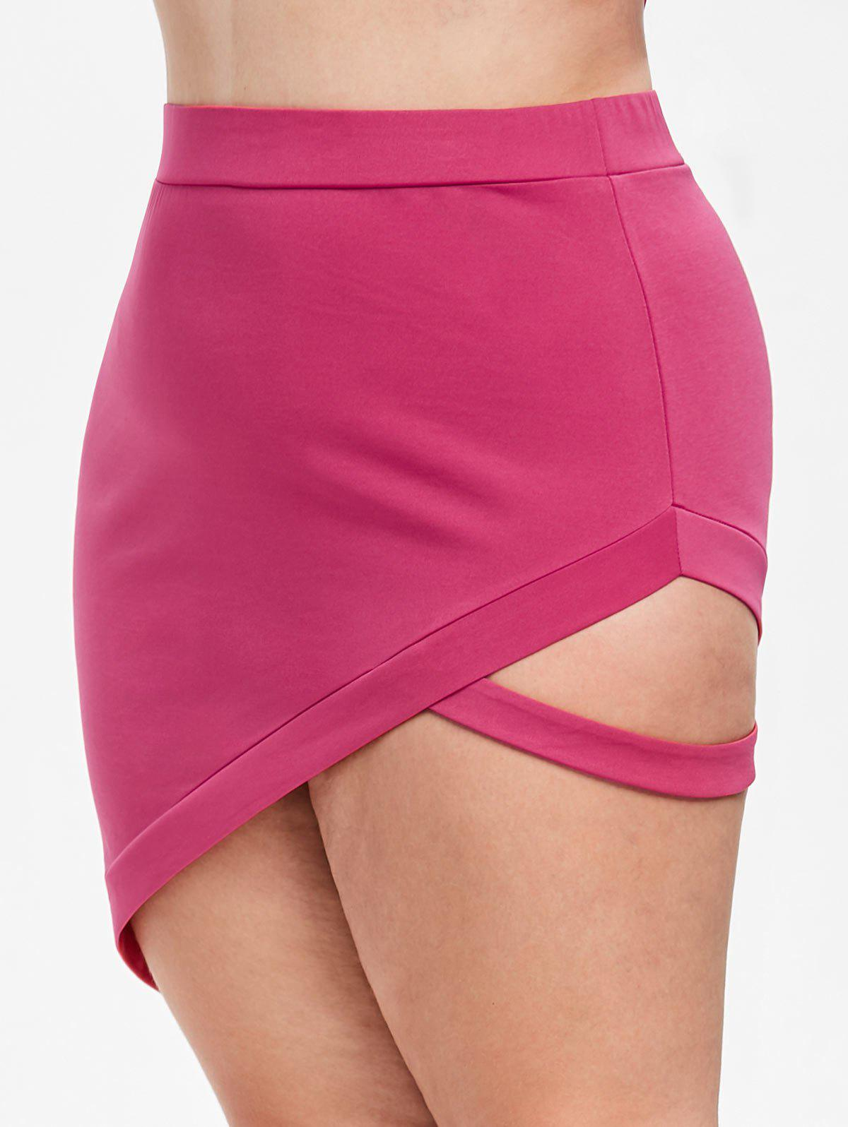 Discount Rosegal Cutout Plus Size Asymmetrical Skirt