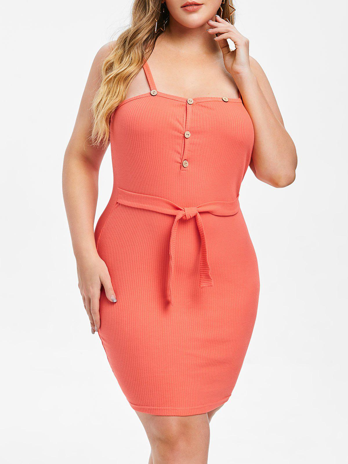 Rosegal Plus Size Ribbed Button Embellished Bodycon Dress