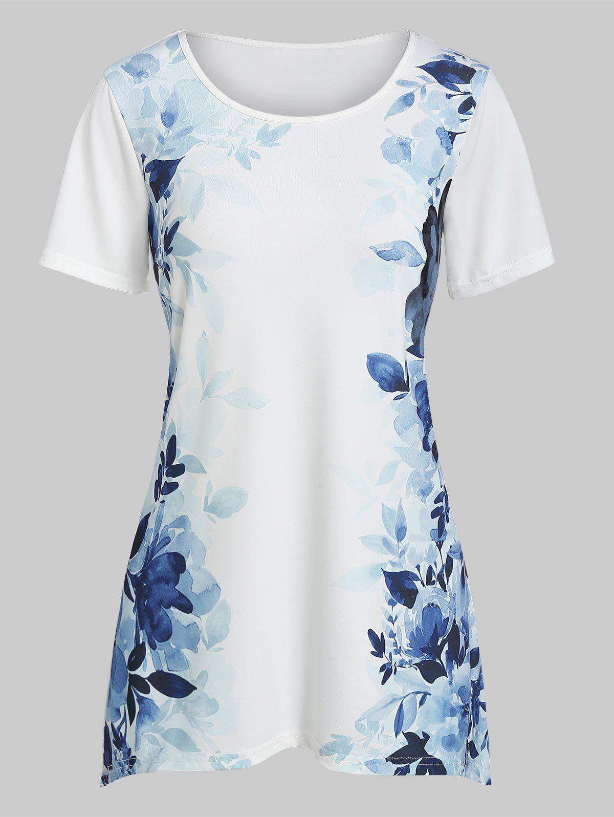Outfits Short Sleeve Leaf Print Tunic Tee