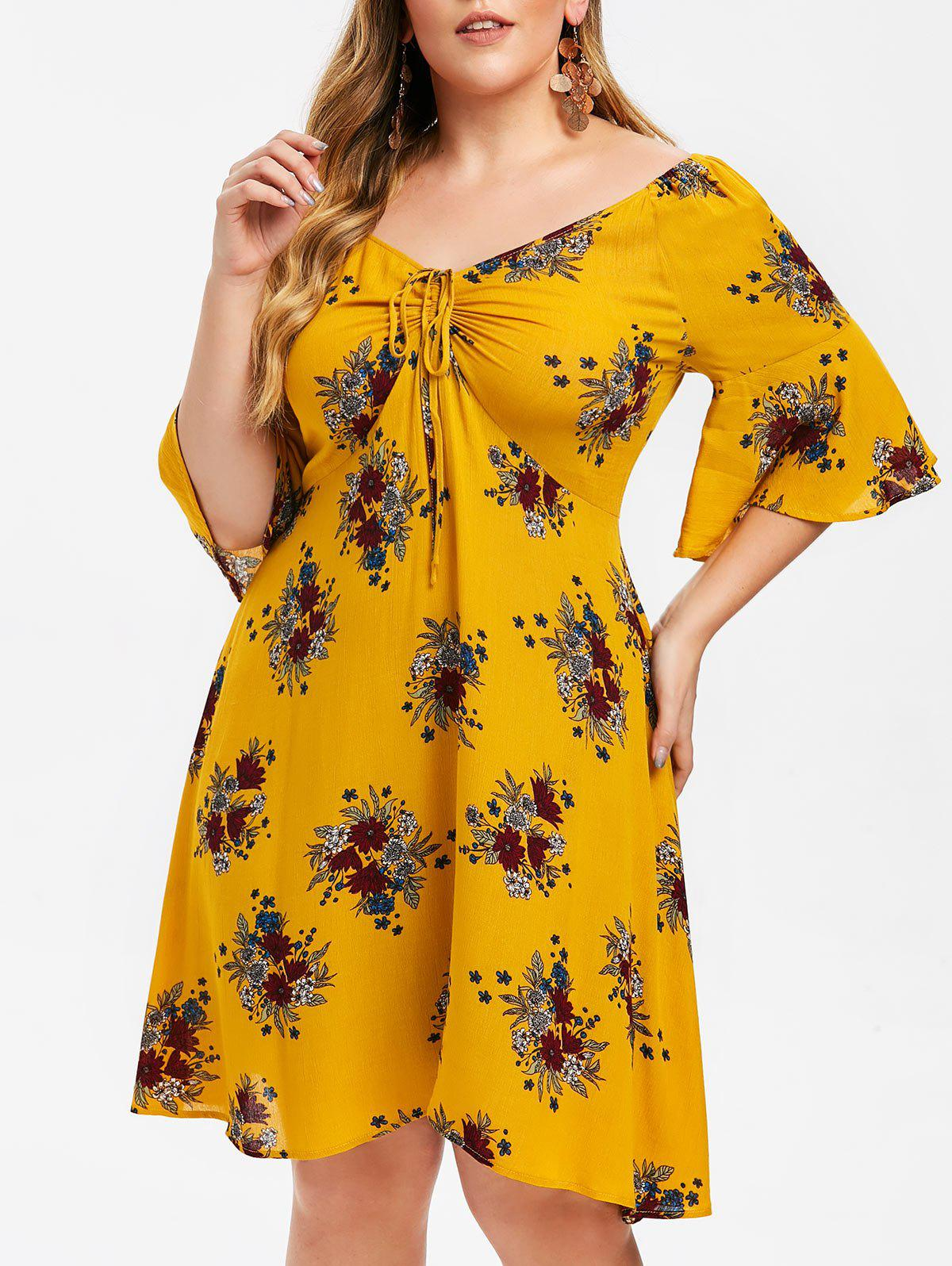 Online Plus Size Floral Flare Sleeve Cinched Dress