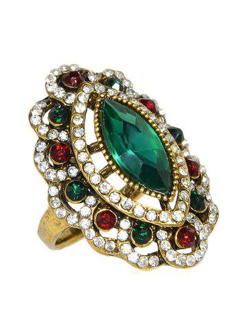 Faux Crystal Decoration Floral Ring