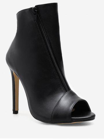 Asymmetrical Zipper Peep Toe Heeled Boots
