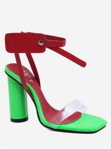 Contrast Color Chunky Heel Sandals