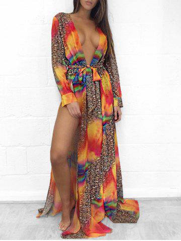 Plunge Neck High Slit Printed Maxi Cover Up