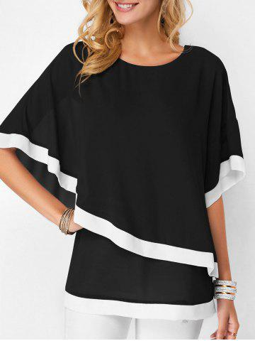 Layered Asymmetric Contrast Blouse