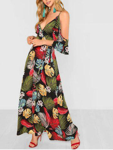 Floral Leaf Open Shoulder Maxi Dress