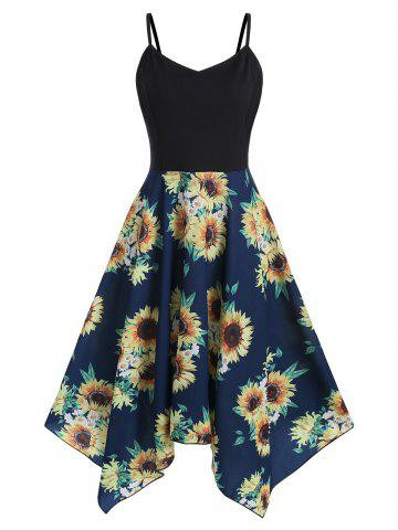 d081188c4a7 Sunflower Print Handkerchief Plus Size Midi Dress