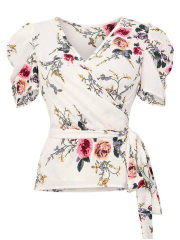 V Neck Flower Wrap Blouse