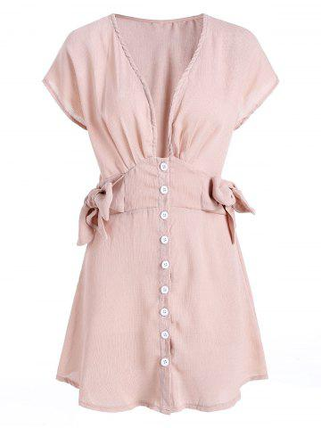 Plunge Neck Button Up Tie Knot Dress