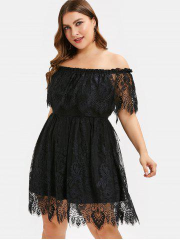a7305969ff2 Plus Size Off Shoulder Ruffled Bowknot Lace Dress