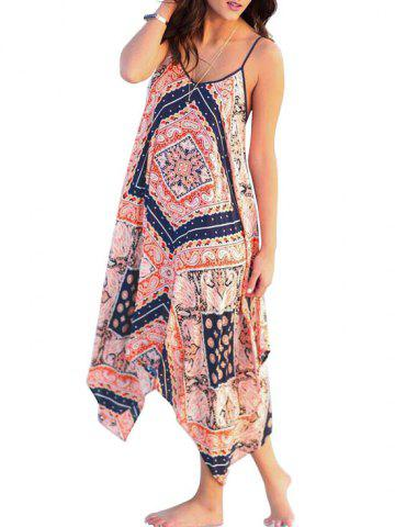 Bohemian Printed Chiffon Cami Beach Dress