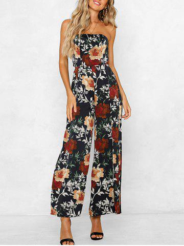 Flower Tie Back Strapless Jumpsuit