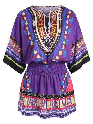 Tribal Print Batwing Sleeve Dress